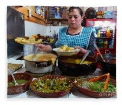 Food Court In Paracho Fleece Blanket