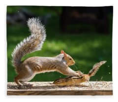 Food Fight Squirrel And Chipmunk Fleece Blanket