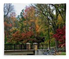 Foot Bridge In The Fall Fleece Blanket