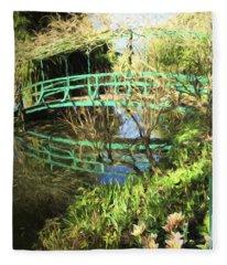 Foot Bridge Reflections In Monet's Garden Fleece Blanket