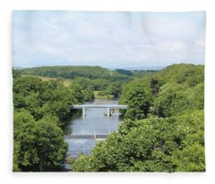 Footbridge Over The River Tees Fleece Blanket
