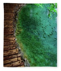 Footpaths And Fish - Plitvice Lakes National Park, Croatia Fleece Blanket