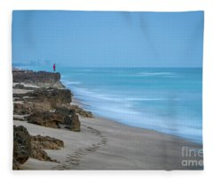 Footprints And Rocks Fleece Blanket