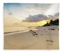 Footprints In Sand On Beach At Sunrise Fleece Blanket
