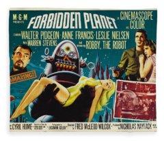 Forbidden Planet In Cinemascope Retro Classic Movie Poster Fleece Blanket