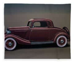 Ford 3 Window Coupe 1933 Painting Fleece Blanket