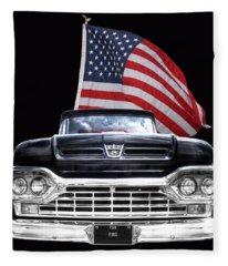 Ford F100 With U.s.flag On Black Fleece Blanket