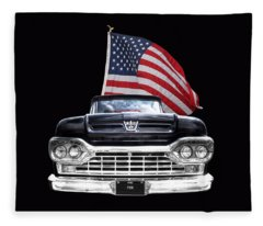 Ford F100 With U.s.flag On Black Fleece Blanket