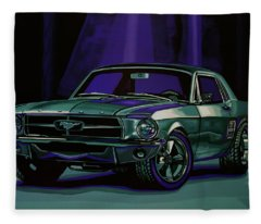 Ford Mustang 1967 Painting Fleece Blanket