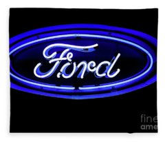 Ford Neon Sign Fleece Blanket
