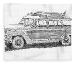Ford Wagon Sketch Fleece Blanket