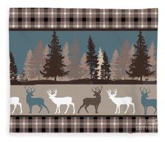 Forest Deer Lodge Plaid II Fleece Blanket