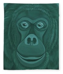 Forest Green Orangutan Fleece Blanket