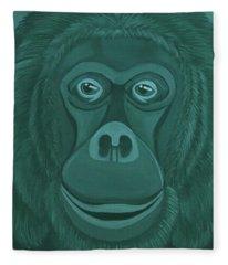 Forest Green Orangutan Fleece Blanket