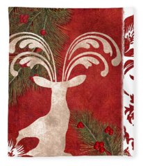 Forest Holiday Christmas Deer Fleece Blanket