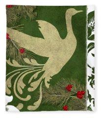 Forest Holiday Christmas Goose Fleece Blanket