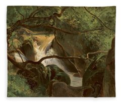 Forest Interior With A Waterfall Papigno Fleece Blanket