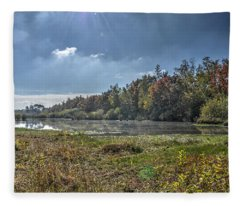 Forest Lake In Autumn Fleece Blanket