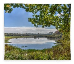 Forest Lake Through The Trees Fleece Blanket