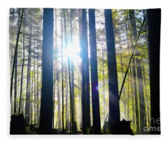 Forest Light Rays Fleece Blanket