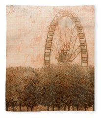 Paris, France - Forest Wheel Fleece Blanket