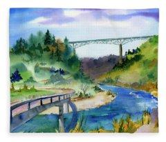 Foresthill Bridge #2 Fleece Blanket