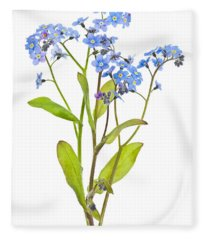 Forget-me-not Flowers On White Fleece Blanket