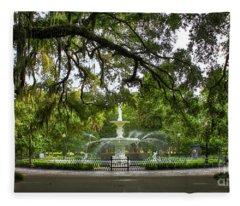 Forsyth Park Fountain Historic Savannah Georgia Fleece Blanket