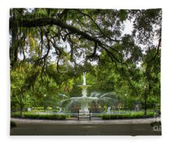 Forsyth Park Fountain Historic Savannah Georgia Fleece Blanket