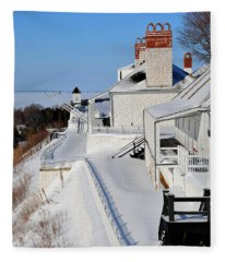 Fort Mackinac Profile Fleece Blanket
