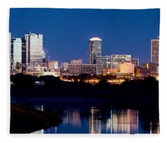 Fort Worth Skyline At Night Poster Fleece Blanket