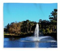 Fountain At Tpc Sawgrass Fleece Blanket