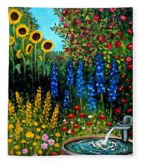 Fountain Of Flowers Fleece Blanket