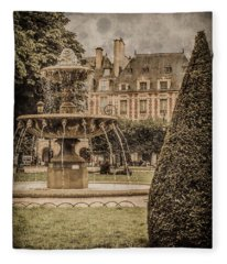 Paris, France - Fountain, Place Des Vosges Fleece Blanket