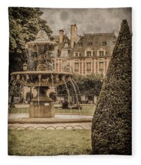 Paris, France - Fountain, Place Des Vosges Fleece Blanket