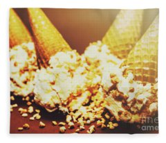 Four Artistic Ice-cream Cones Fleece Blanket
