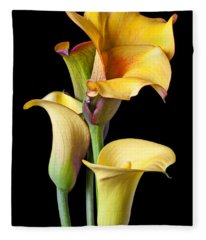 Four Calla Lilies Fleece Blanket