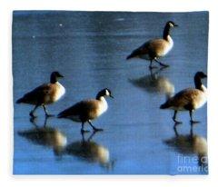 Four Geese Walking On Ice Fleece Blanket