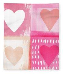 Four Hearts- Art By Linda Woods Fleece Blanket