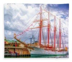 Four Masted Schooner In Port Fleece Blanket