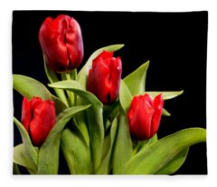 Four Tulips Fleece Blanket