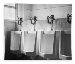 Four Urinals In A Row Bw Fleece Blanket