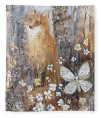 Fox And Butterfly Fleece Blanket