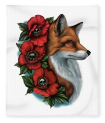 Fox And Poppies Fleece Blanket