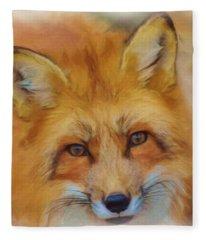 Fox Face Taken From Watercolour Painting Fleece Blanket