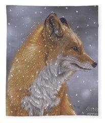 Fox In A Flurry Fleece Blanket