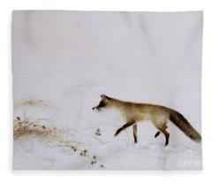 Fox In Snow Fleece Blanket