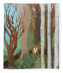 Fox In The Forest  Fleece Blanket