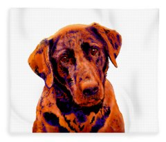 Fox Red Labrador Painting Fleece Blanket