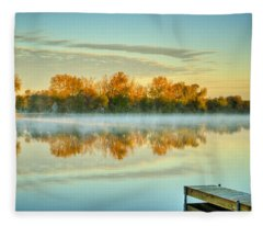 Fox River Above Mchenry Dam At Sunrise Fleece Blanket